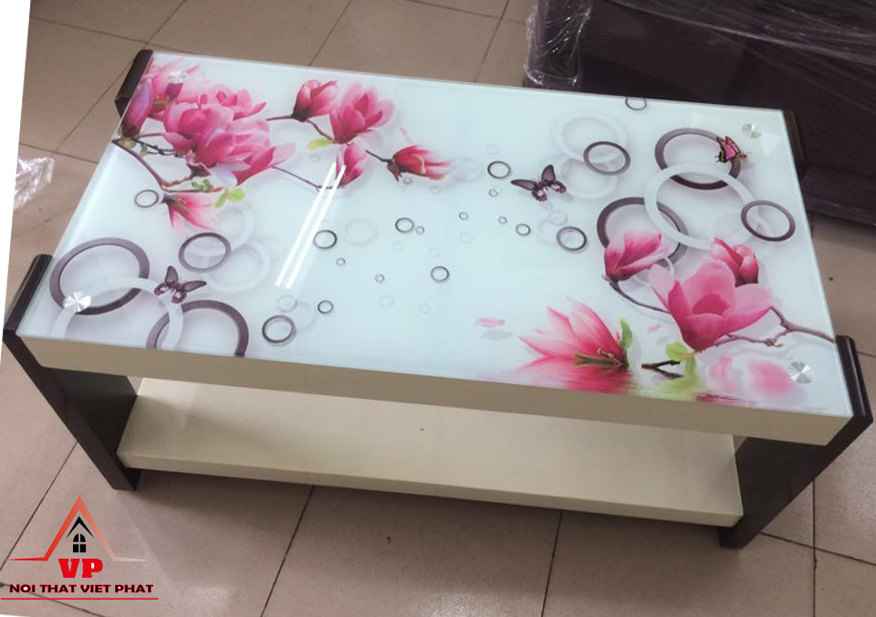 Bàn Gỗ Kính Sơn 3D - Mã BG12