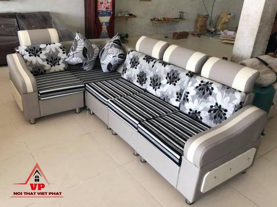 Sofa Góc Da Kết Hợp Vải - Mã G10